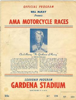 Chuck Basney Bio in a 1955 Gardena Stadium Program