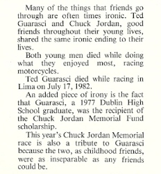 Ted Guarasci Memorial Listing in the 1982 Chuck Jordan Memorial Program